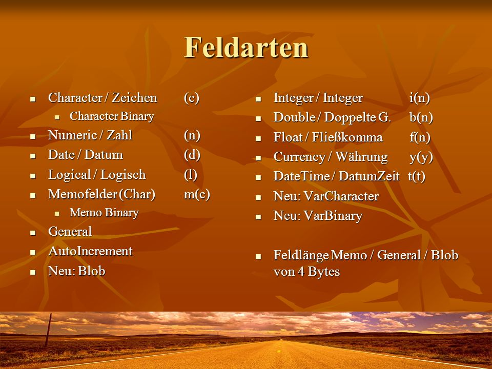 Feldarten Character / Zeichen (c) Numeric / Zahl (n) Date / Datum (d)