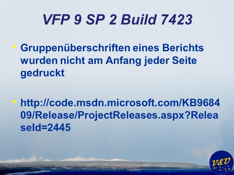 VFP 9 SP 2 Build 7423 Gruppenüberschriften eines Berichts wurden nicht am Anfang jeder Seite gedruckt.