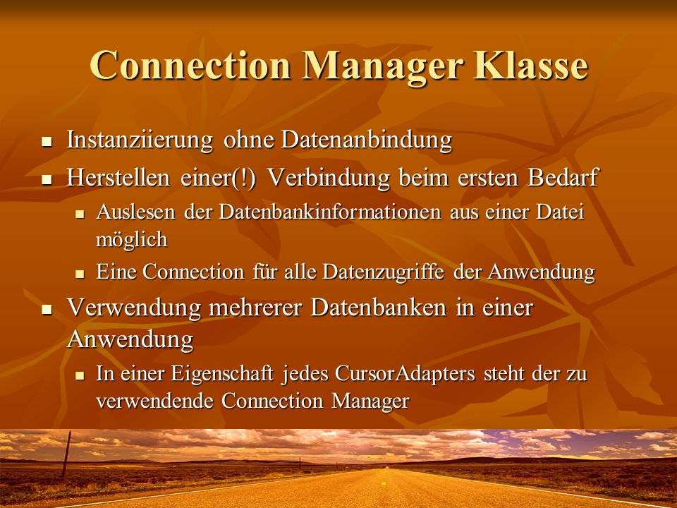Connection Manager Klasse