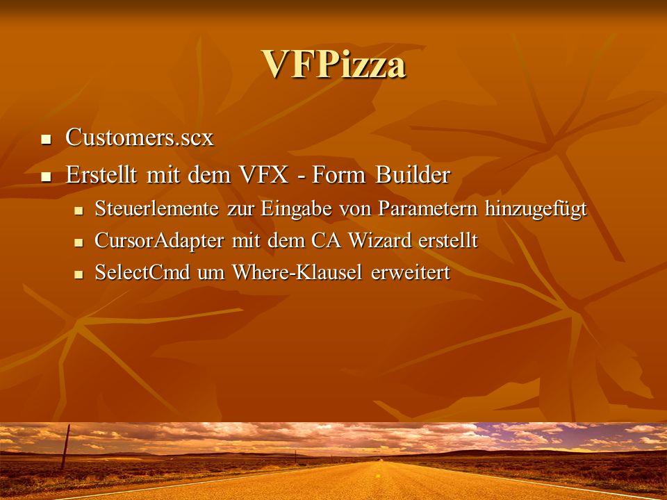 VFPizza Customers.scx Erstellt mit dem VFX - Form Builder