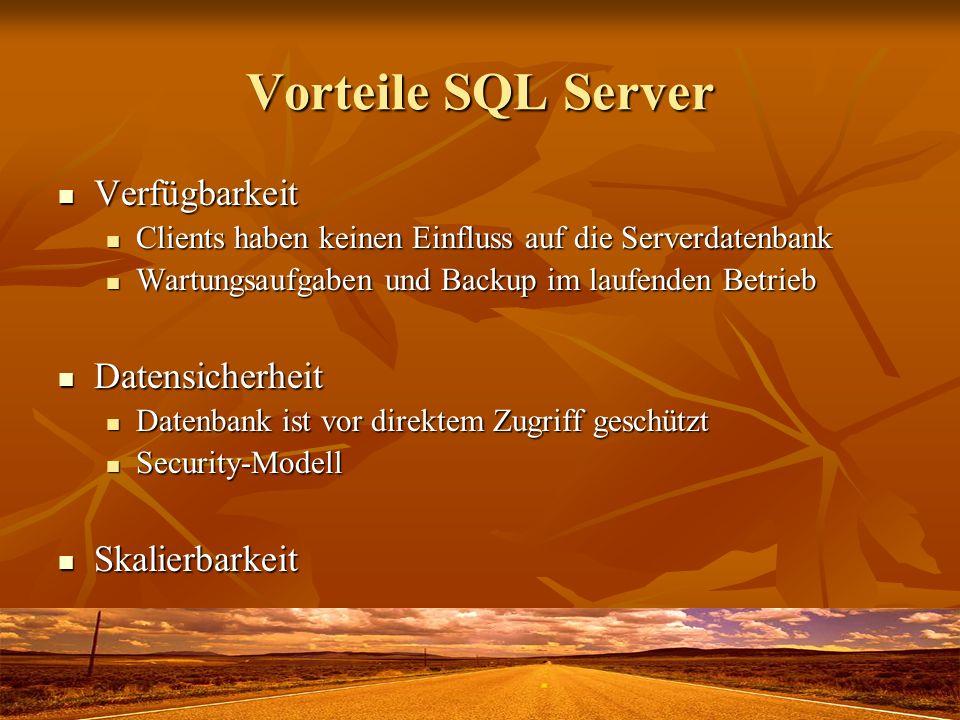 Vorteile SQL Server Verfügbarkeit Datensicherheit Skalierbarkeit