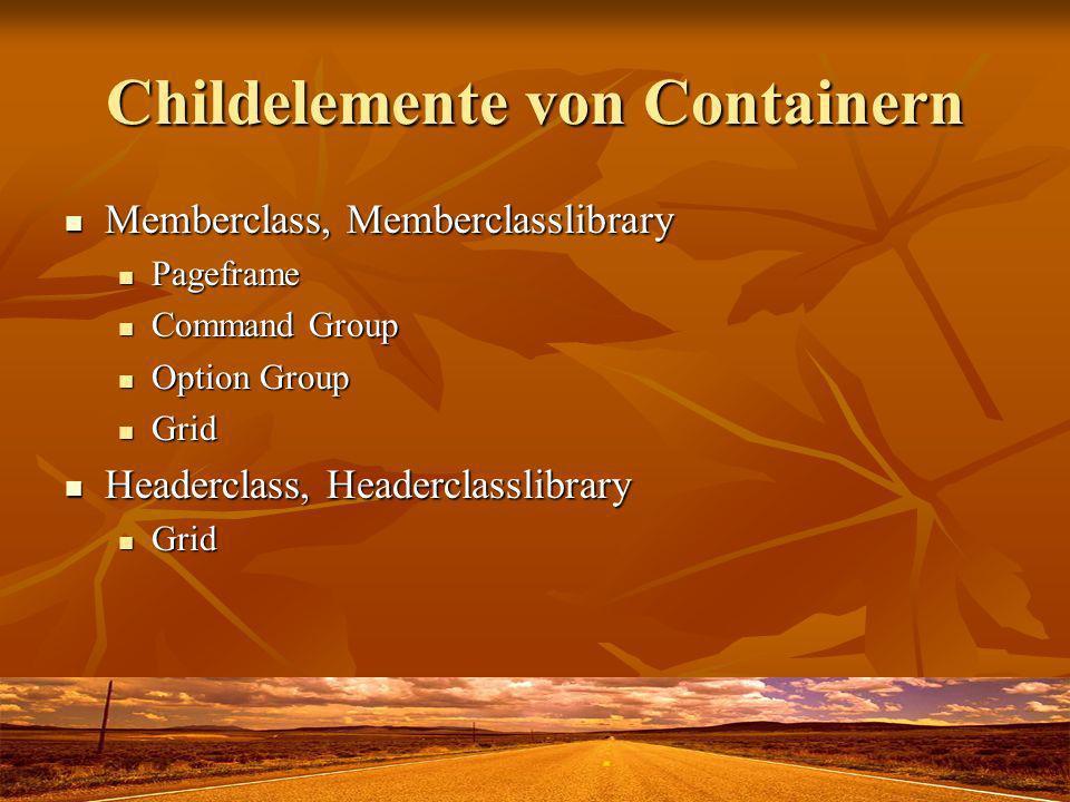 Childelemente von Containern