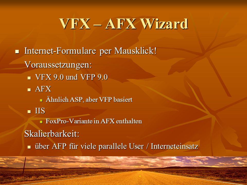 VFX – AFX Wizard Internet-Formulare per Mausklick! Voraussetzungen: