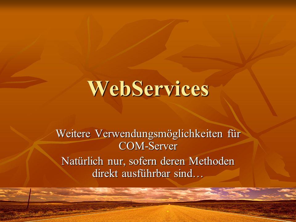 WebServices Weitere Verwendungsmöglichkeiten für COM-Server