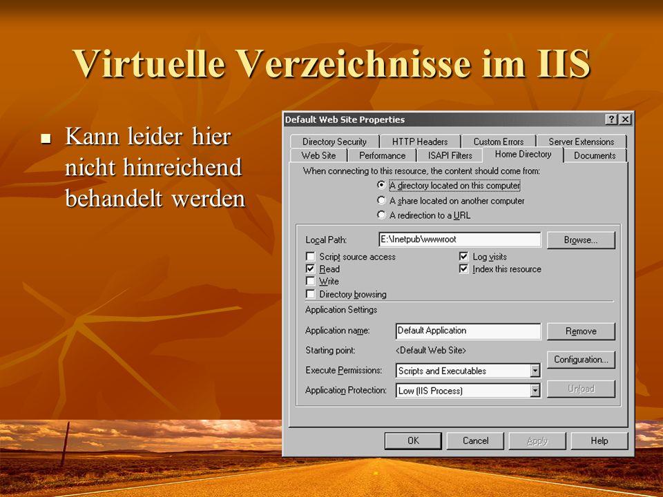 Virtuelle Verzeichnisse im IIS