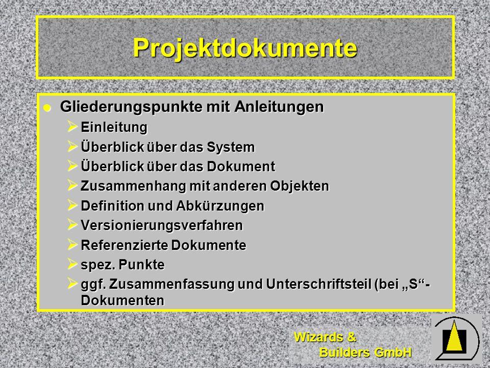 Projektdokumente Gliederungspunkte mit Anleitungen Einleitung