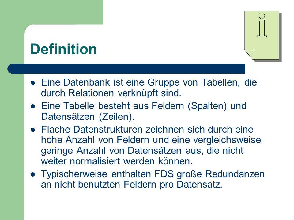 Definition Eine Datenbank ist eine Gruppe von Tabellen, die durch Relationen verknüpft sind.