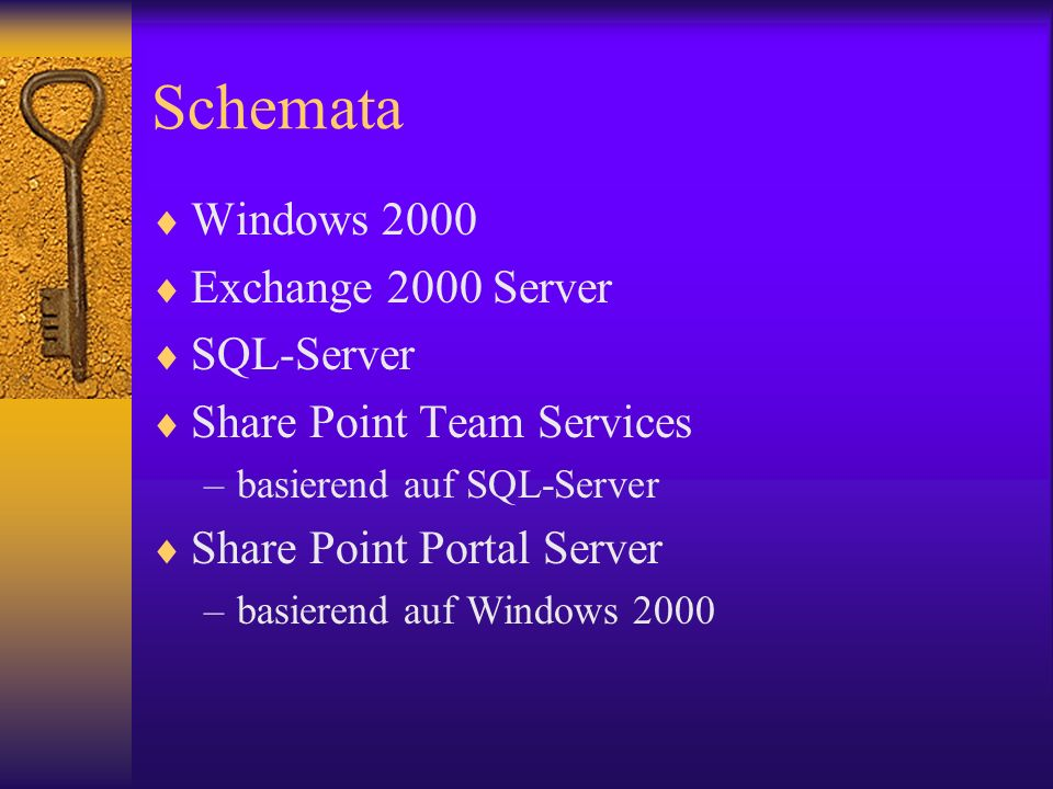 Schemata Windows 2000 Exchange 2000 Server SQL-Server