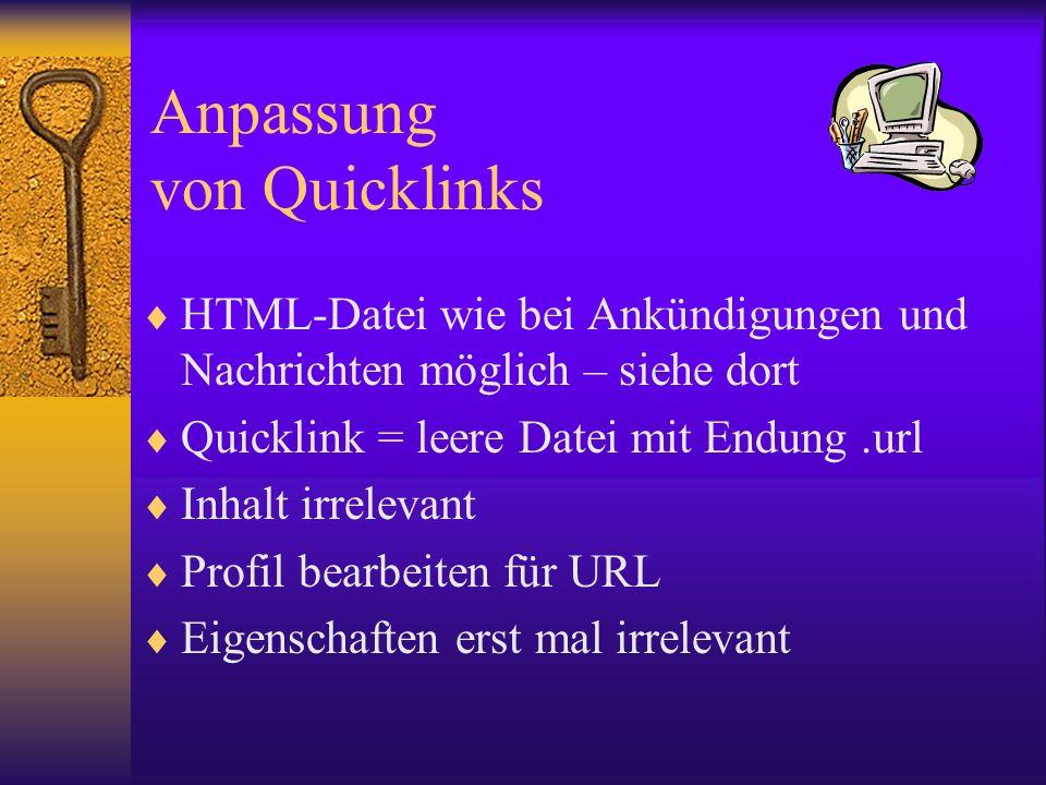 Anpassung von Quicklinks