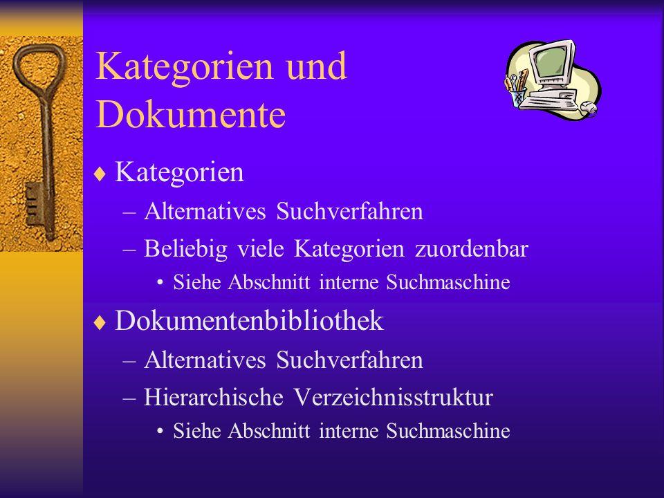 Kategorien und Dokumente