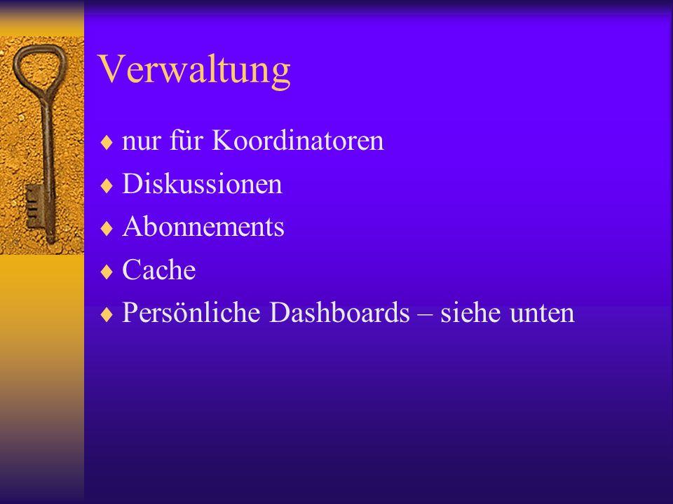 Verwaltung nur für Koordinatoren Diskussionen Abonnements Cache