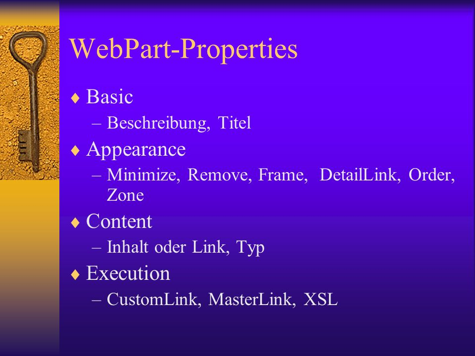 WebPart-Properties Basic Appearance Content Execution