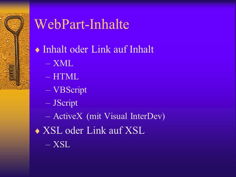 WebPart-Inhalte Inhalt oder Link auf Inhalt XSL oder Link auf XSL XML