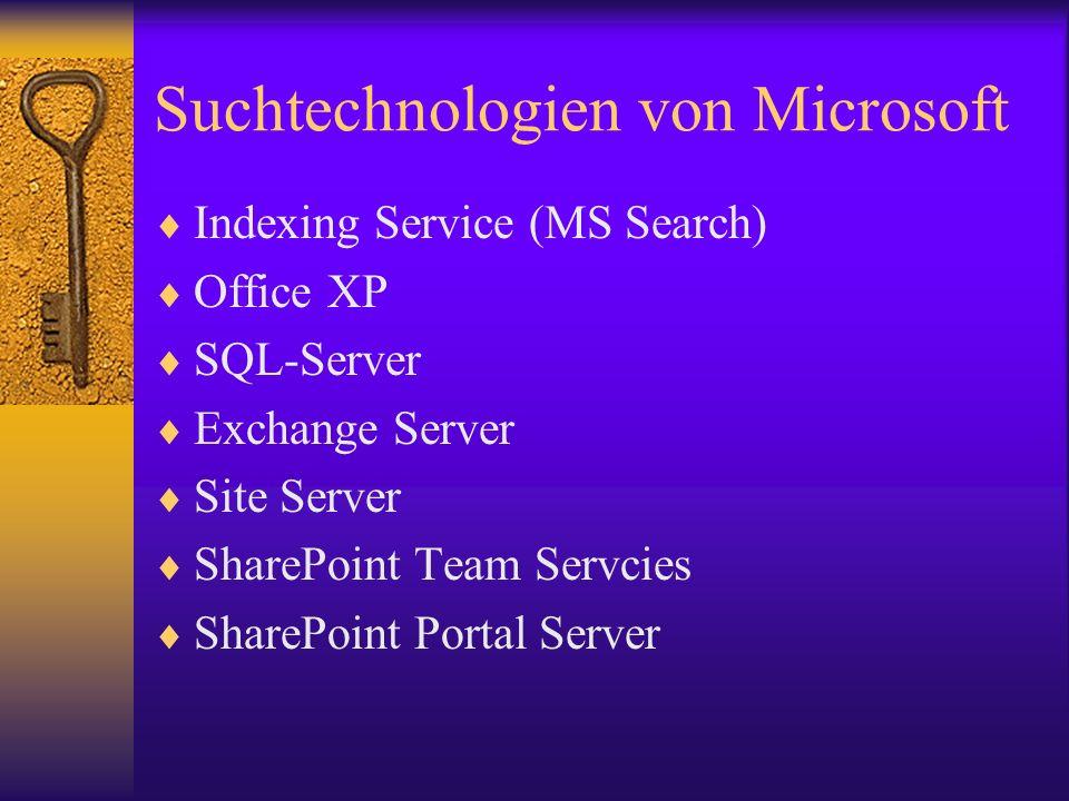 Suchtechnologien von Microsoft