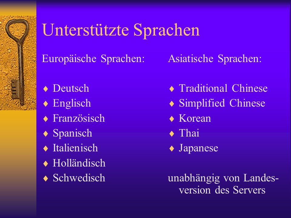 Unterstützte Sprachen