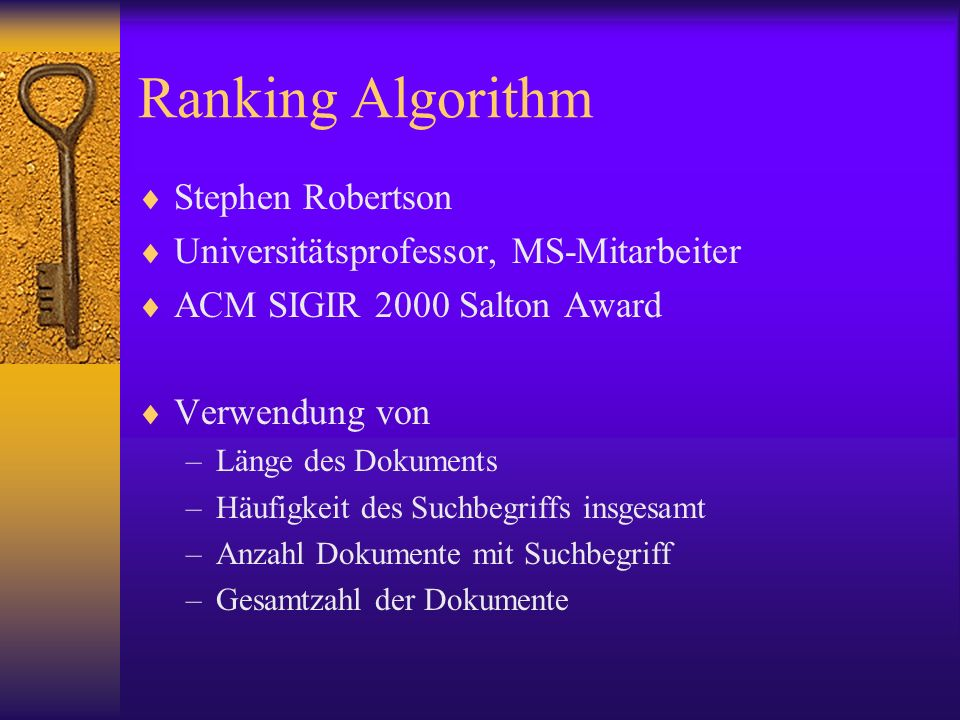 Ranking Algorithm Stephen Robertson