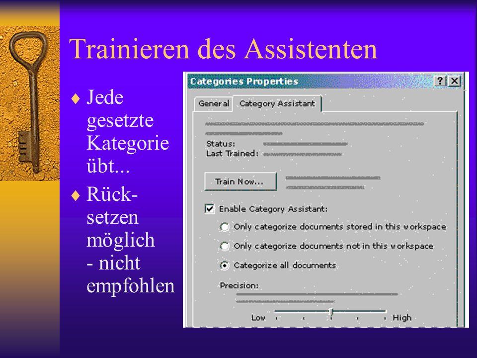Trainieren des Assistenten