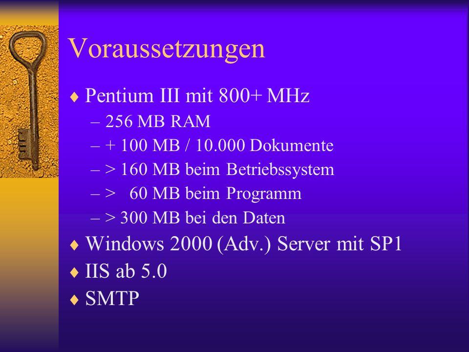 Voraussetzungen Pentium III mit 800+ MHz