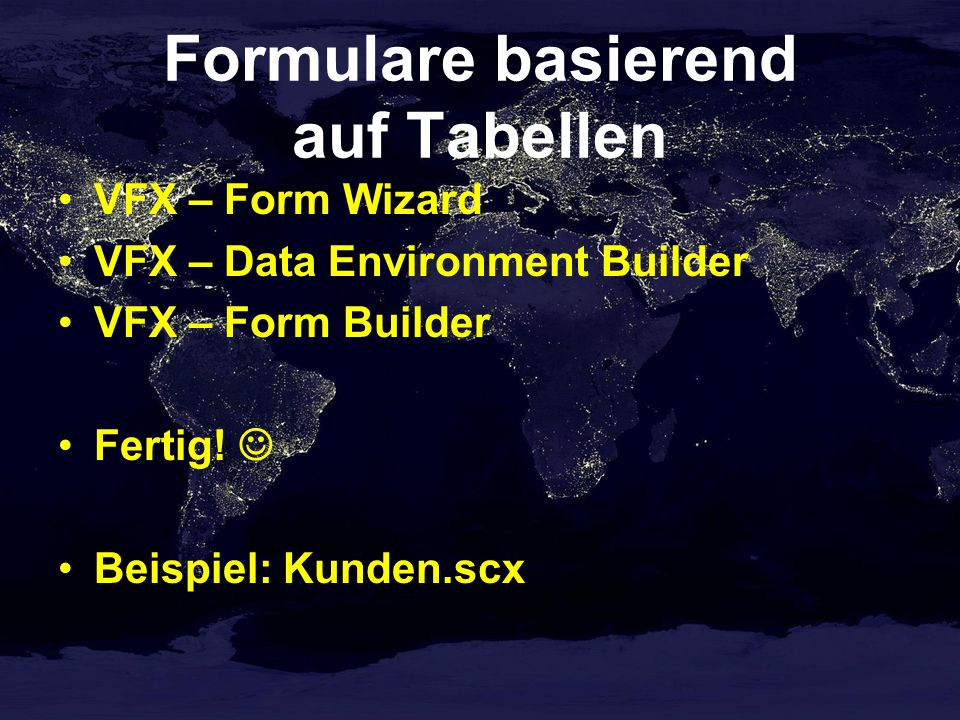 Formulare basierend auf Tabellen