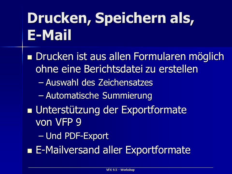Drucken, Speichern als, E-Mail