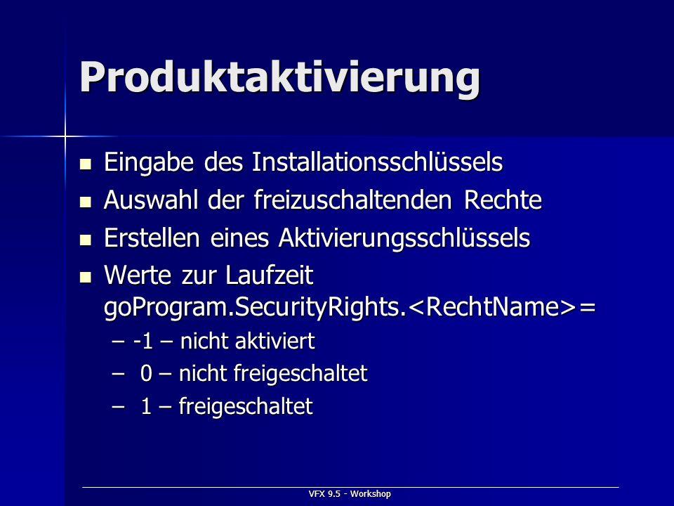 Produktaktivierung Eingabe des Installationsschlüssels