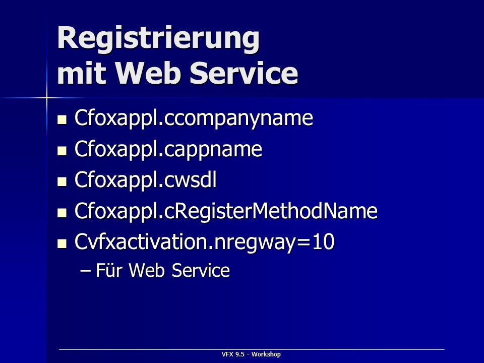 Registrierung mit Web Service