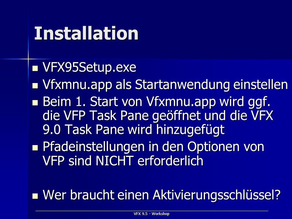 Installation VFX95Setup.exe Vfxmnu.app als Startanwendung einstellen