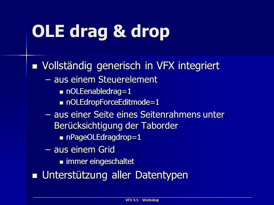 OLE drag & drop Vollständig generisch in VFX integriert