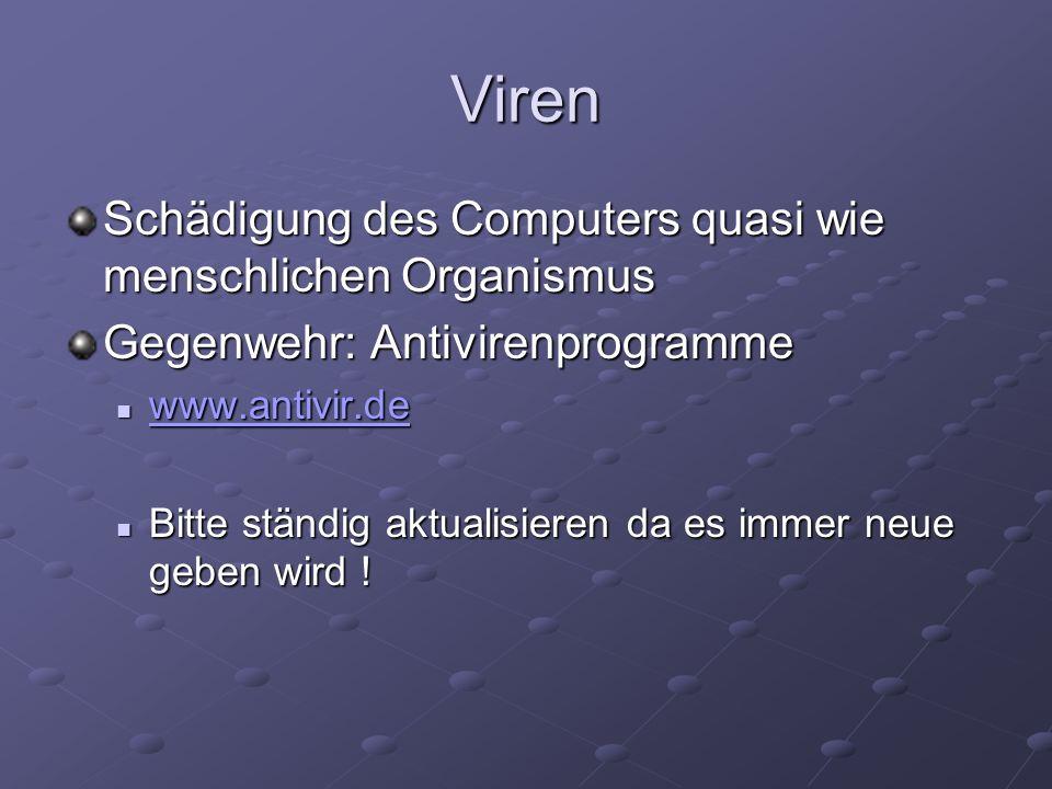 Viren Schädigung des Computers quasi wie menschlichen Organismus