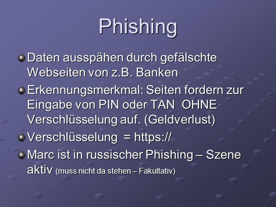 Phishing Daten ausspähen durch gefälschte Webseiten von z.B. Banken