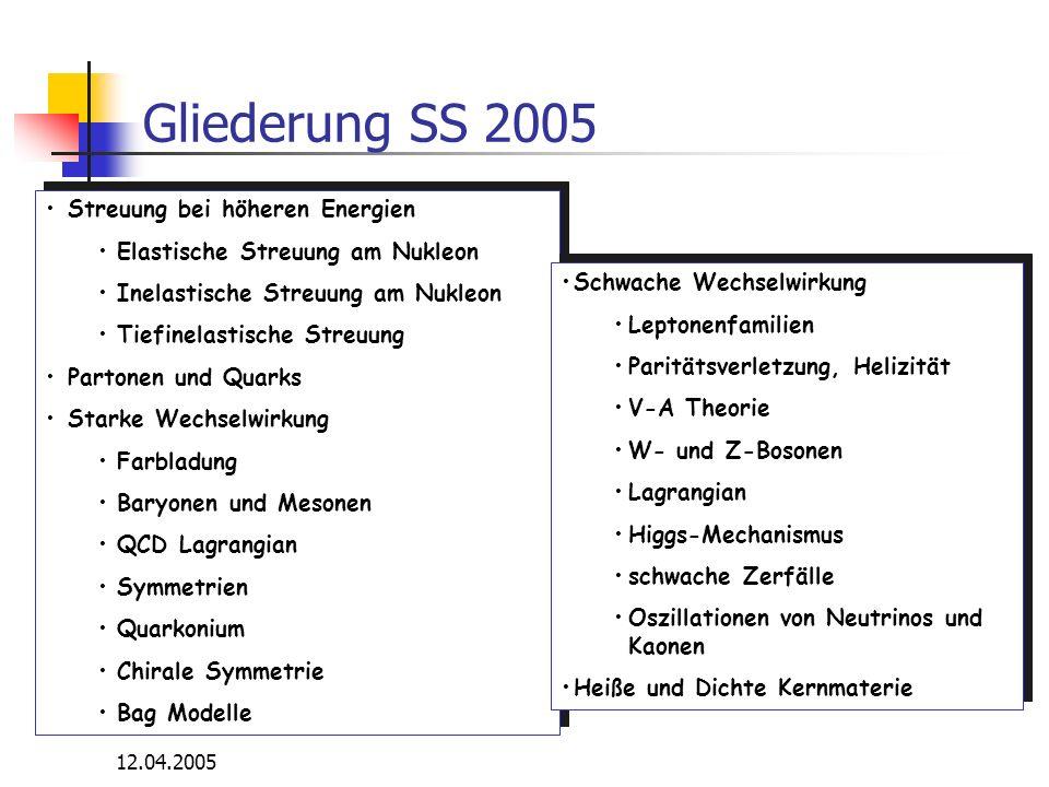 Gliederung SS 2005 Streuung bei höheren Energien