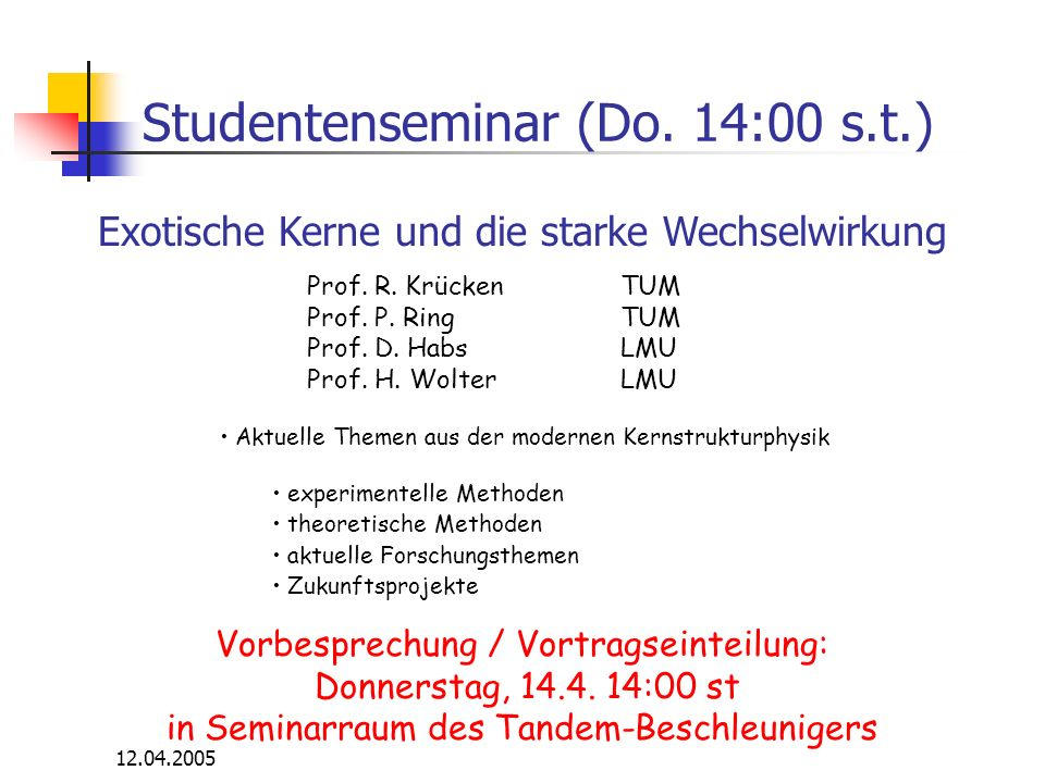 Studentenseminar (Do. 14:00 s.t.)