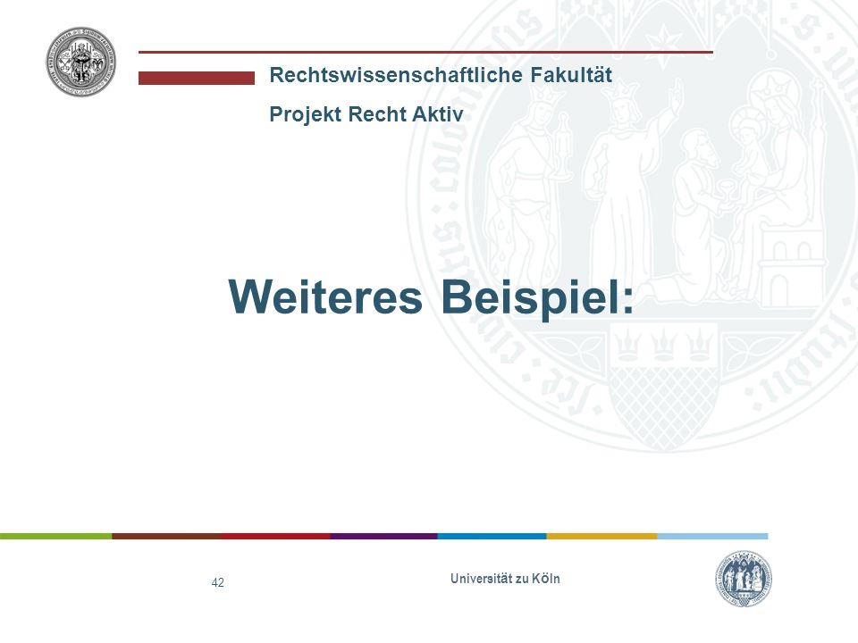 Weiteres Beispiel: Universität zu Köln