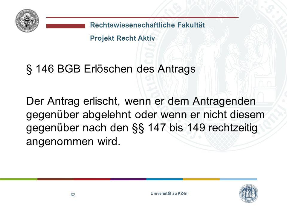 § 146 BGB Erlöschen des Antrags