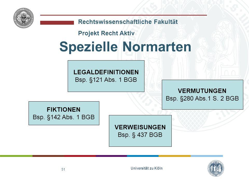 Spezielle Normarten LEGALDEFINITIONEN Bsp. §121 Abs. 1 BGB VERMUTUNGEN