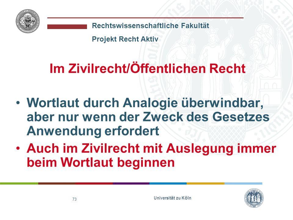 Im Zivilrecht/Öffentlichen Recht