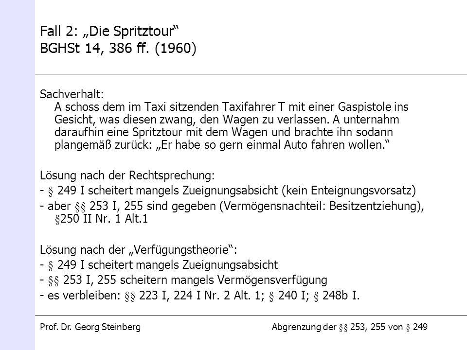 "Fall 2: ""Die Spritztour BGHSt 14, 386 ff. (1960)"