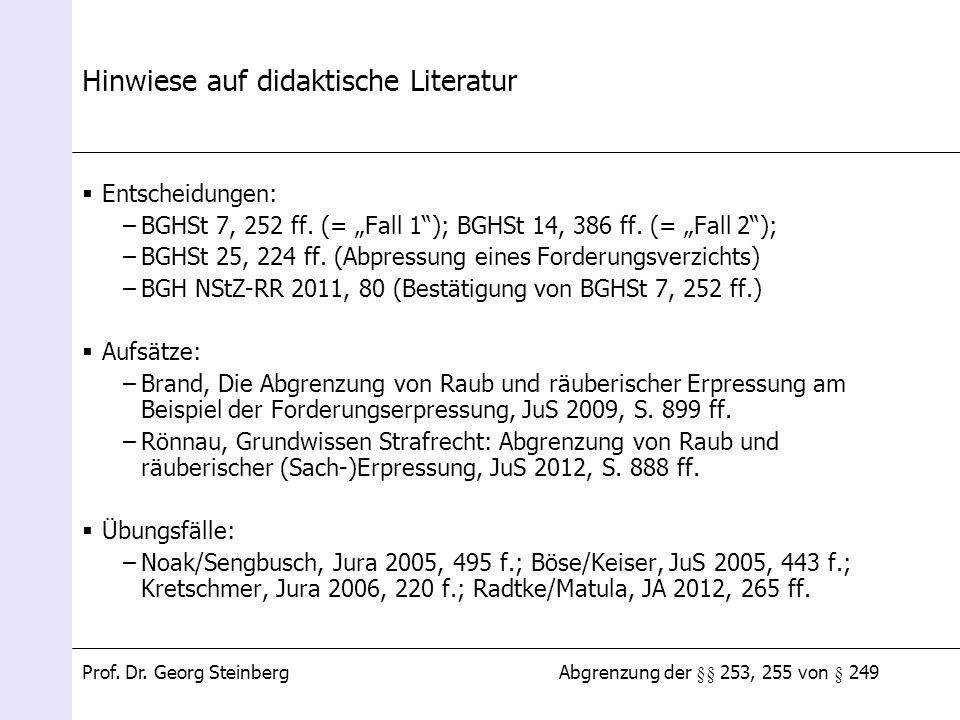 Hinwiese auf didaktische Literatur