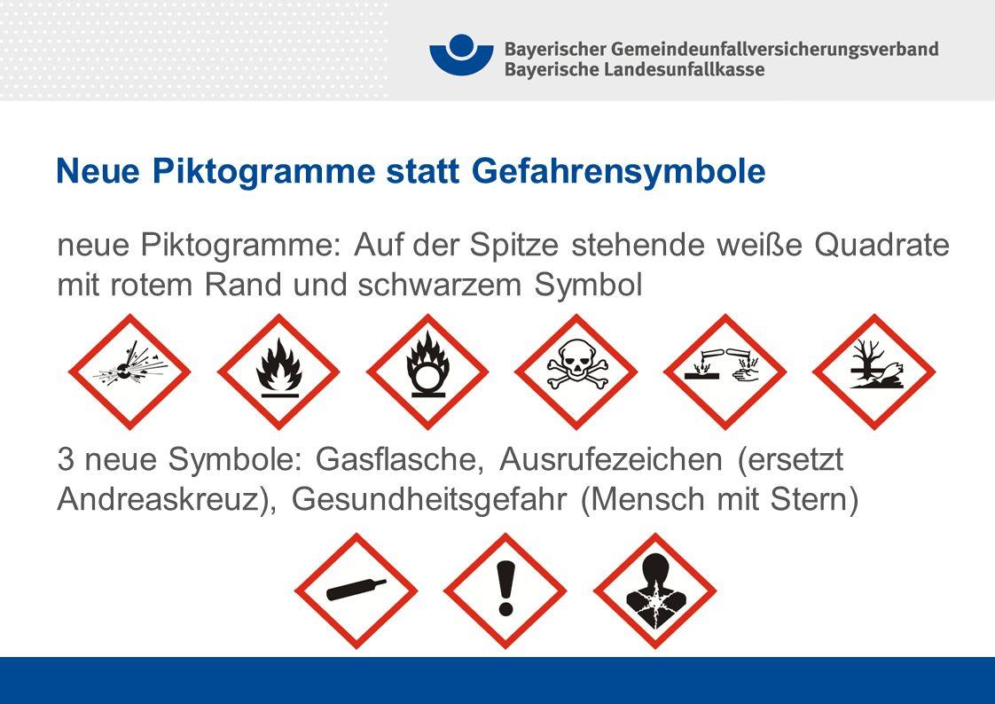 Neue Piktogramme statt Gefahrensymbole
