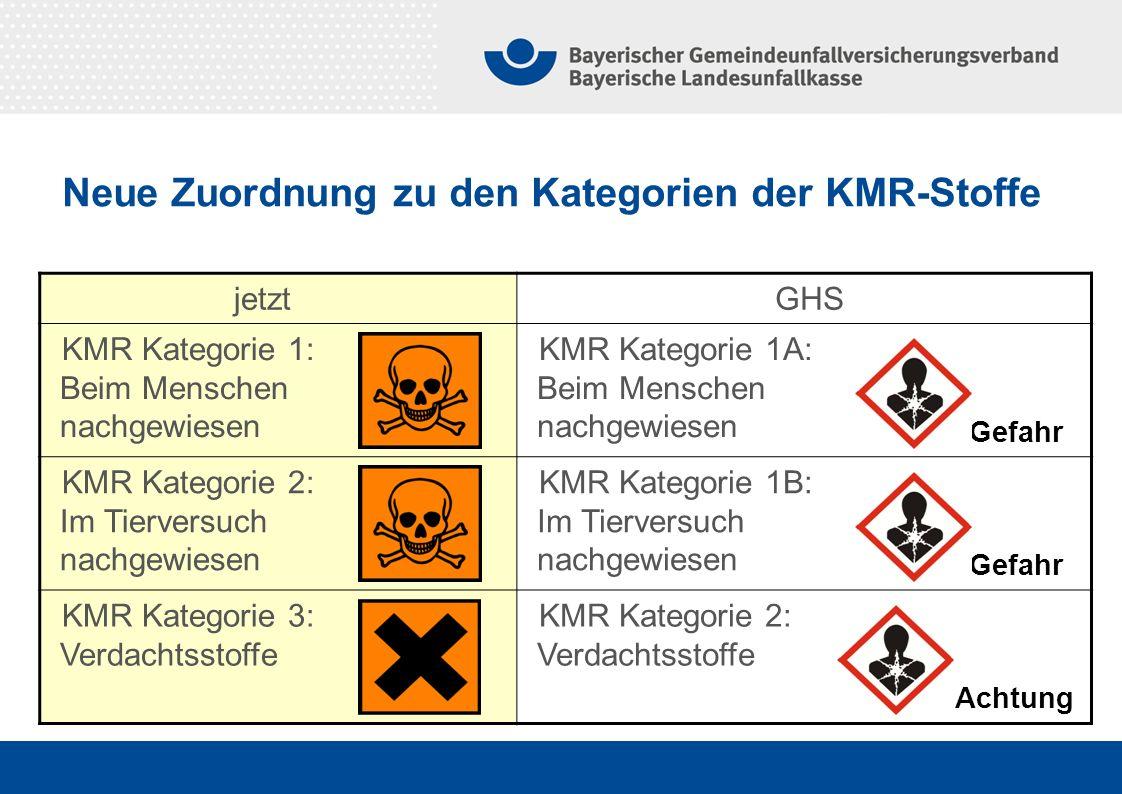Neue Zuordnung zu den Kategorien der KMR-Stoffe