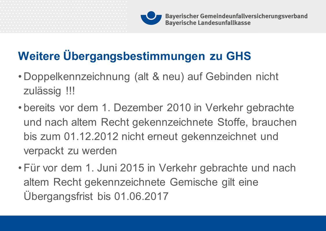 Weitere Übergangsbestimmungen zu GHS