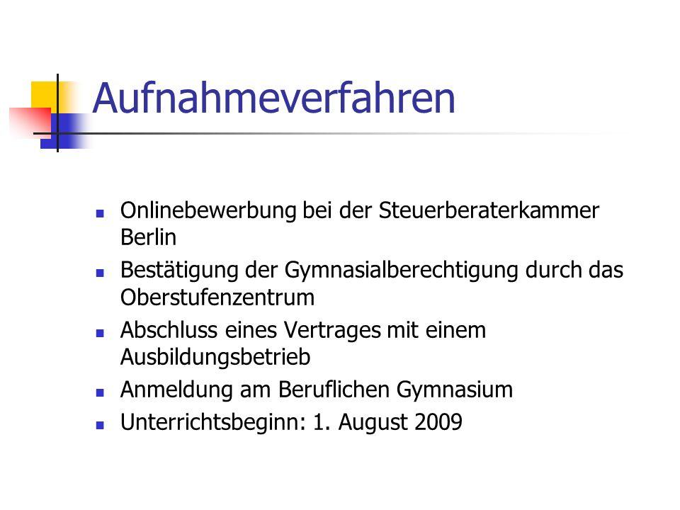 Aufnahmeverfahren Onlinebewerbung bei der Steuerberaterkammer Berlin