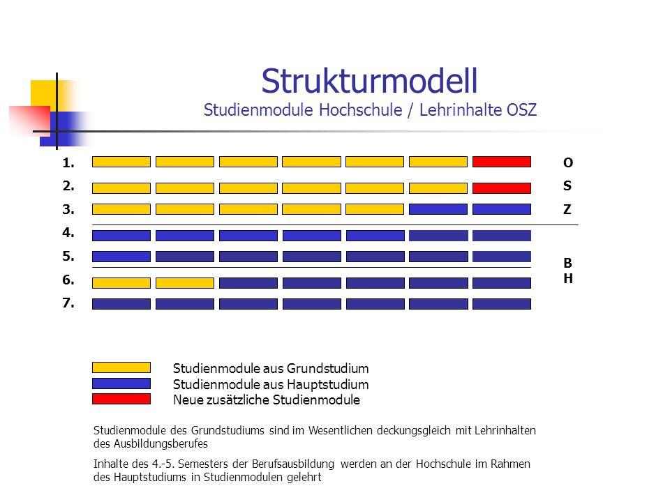 Strukturmodell Studienmodule Hochschule / Lehrinhalte OSZ