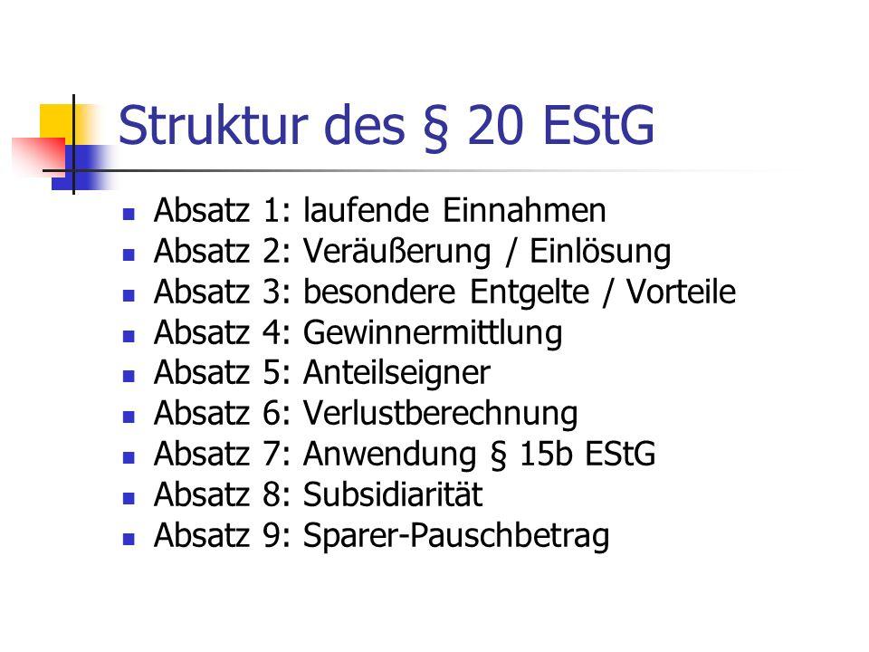 Struktur des § 20 EStG Absatz 1: laufende Einnahmen