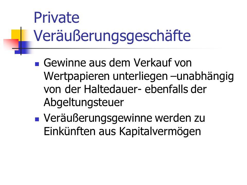 Private Veräußerungsgeschäfte