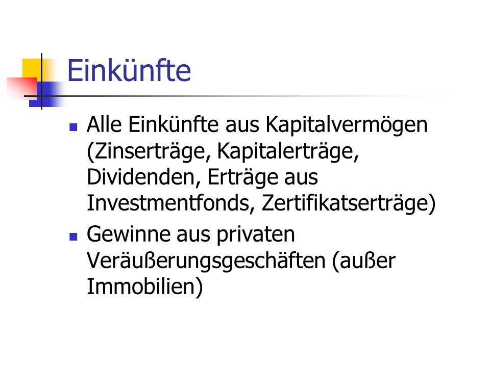 Einkünfte Alle Einkünfte aus Kapitalvermögen (Zinserträge, Kapitalerträge, Dividenden, Erträge aus Investmentfonds, Zertifikatserträge)