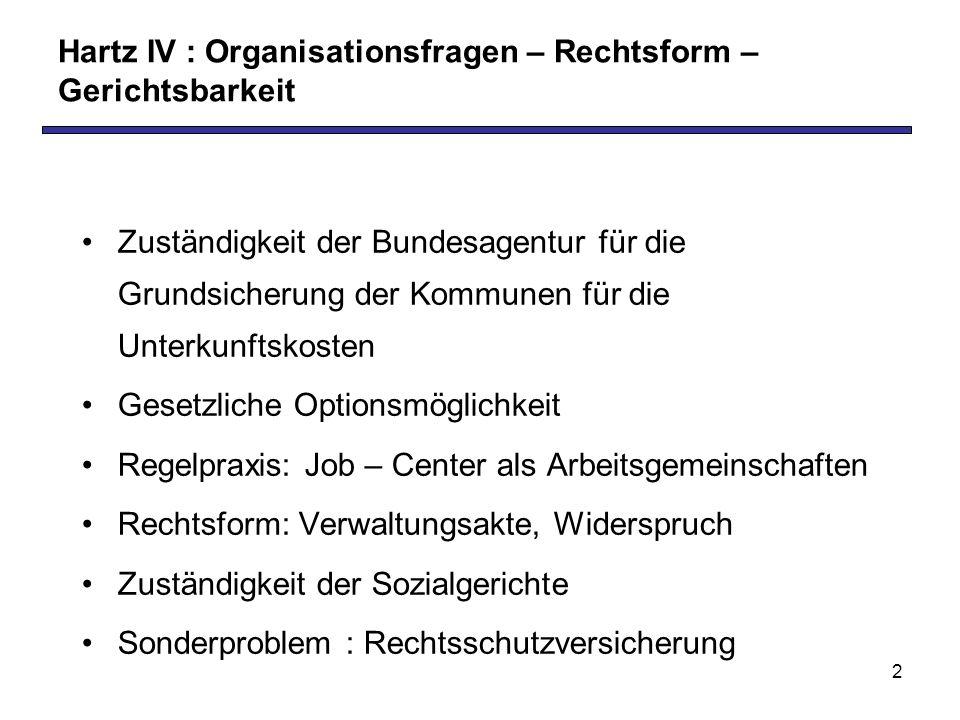 Hartz IV : Organisationsfragen – Rechtsform – Gerichtsbarkeit