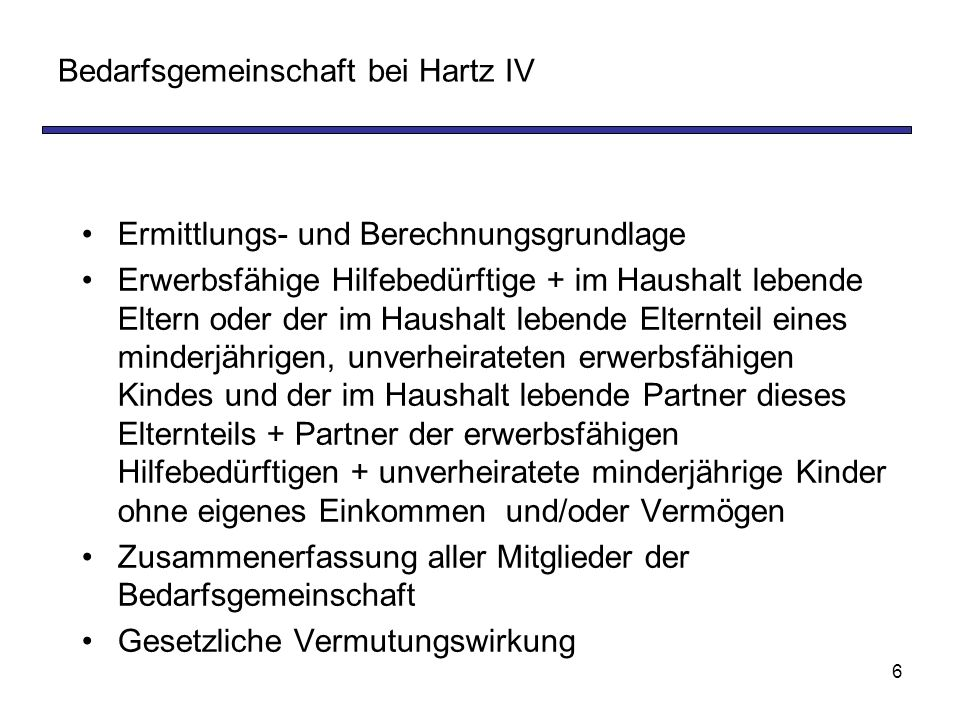 Bedarfsgemeinschaft bei Hartz IV