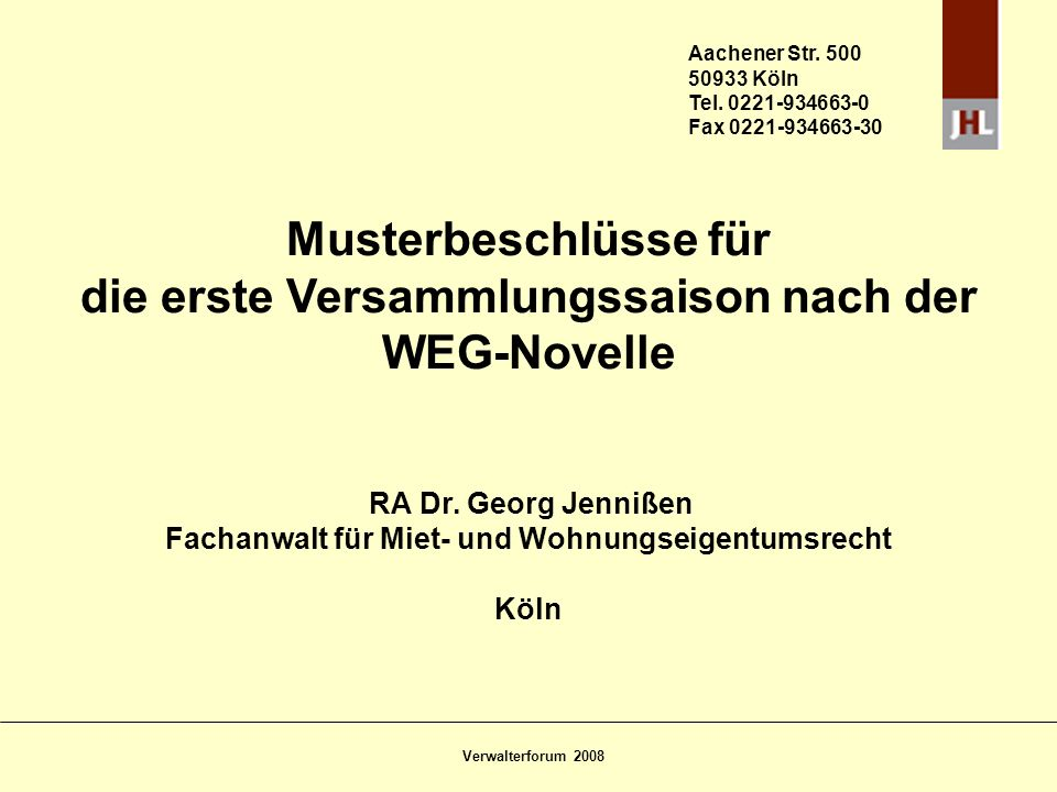 Musterbeschlüsse für die erste Versammlungssaison nach der WEG-Novelle