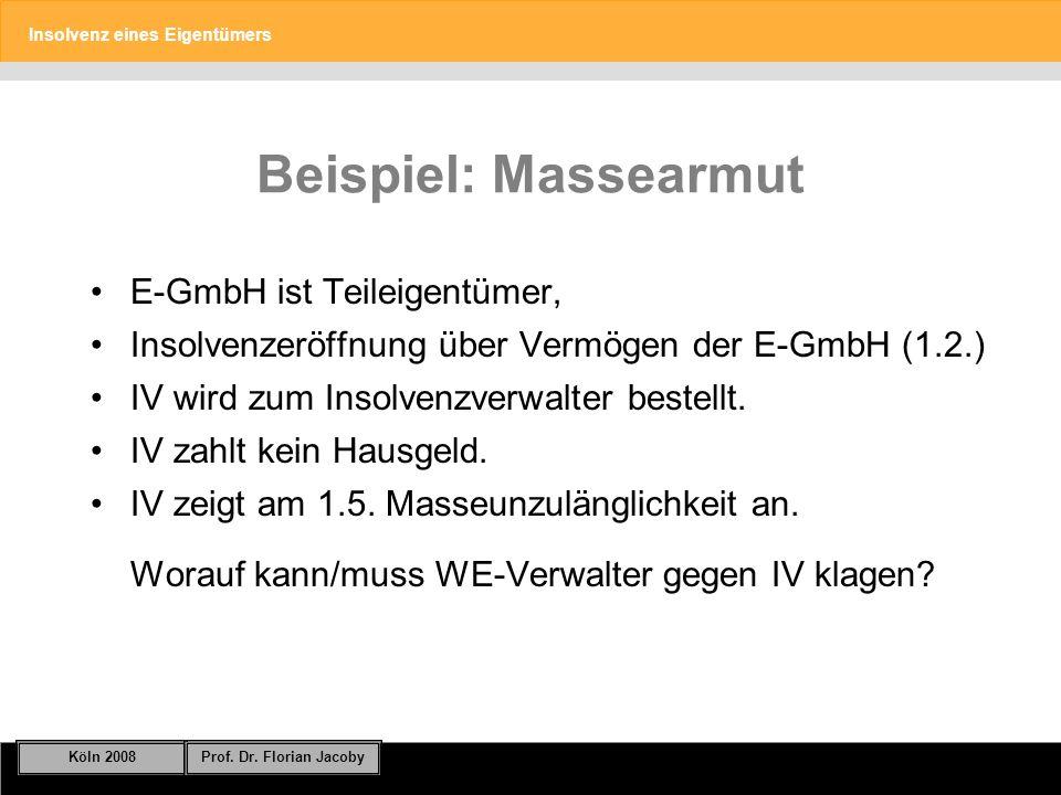 Beispiel: Massearmut E-GmbH ist Teileigentümer,